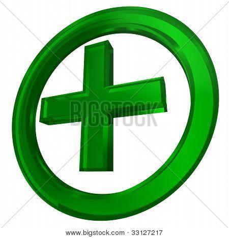 Green Cross In Circle Health Symbol