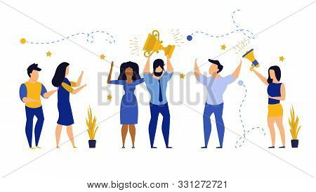 Business People Winner Prize Customer Vector Illustration Employee. Man And Woman Celebration First