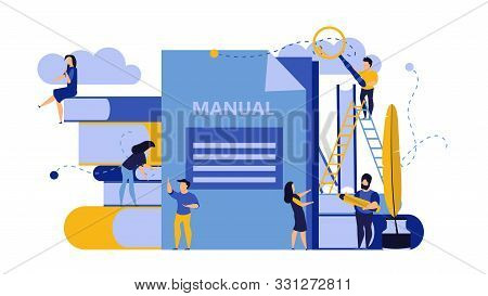 Man And Woman Create Document Book Manual. Business Handbook Advice Content Vector. Online Web Paper