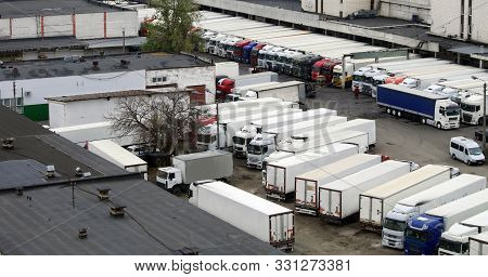 Semi-trailers And Semi-trailers In The Warehouse Terminal During Loading And Unloading. Refrigerator