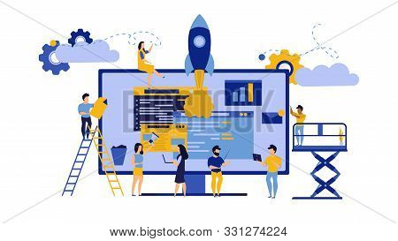 Creative Teamwork Vector Business Pc Computer Office Illustration. Man And Woman With Data Desk And