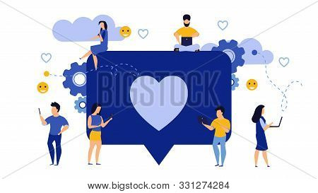 Social Media Like Business Feedback Message Vector. Networking Internet People Man And Woman Illustr