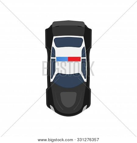 Police Car Top View Vector Icon Vehicle Illustration. Black And White Transportation Patrol Cop Auto