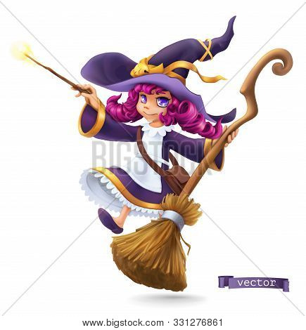 Little Witch, Sorceress. Happy Halloween. 3d Vector Cartoon Character
