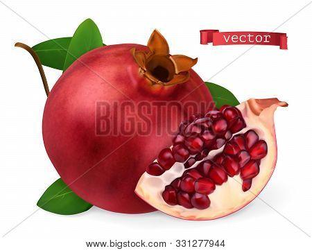 Pomegranate Vectorized Image. Fresh Fruit. 3d Realistic Vector Icon