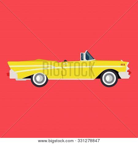 Retro Yellow Car Side View Flat Icon Auto. Classic Vehicle Illustration Design Transportation Vintag