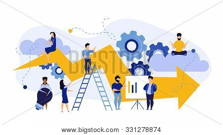 Success Advance Business Plan Boost Vector Concept Illustration. Cartoon People Bank Bond Teamwork W