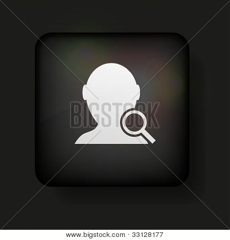 Vector Search Friend Icon On Black. Eps10