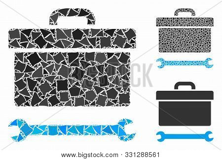 Toolbox Mosaic Of Humpy Items In Various Sizes And Color Hues, Based On Toolbox Icon. Vector Raggy I