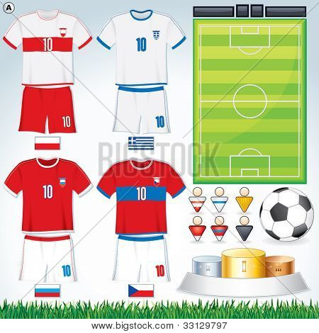 Soccer Vector Collection. Abstract National Football Uniform with Variety Objects.