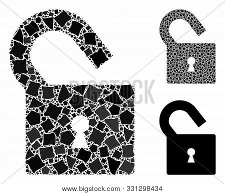 Unlock Mosaic Of Rough Pieces In Various Sizes And Color Hues, Based On Unlock Icon. Vector Rough It