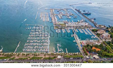 Aerial Drone Shot View Of Dockyard In La Spezia