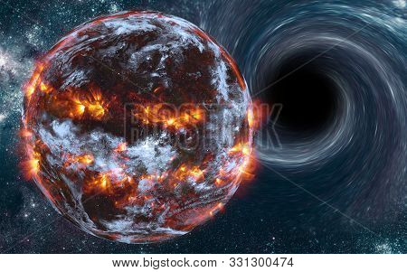 Exploding Planet Near Black Hole With Flashes Of Light Somewhere In Deep Space With Cosmic Dust And