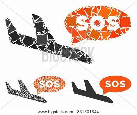 Airplane Sos Message Mosaic Of Inequal Items In Various Sizes And Color Tinges, Based On Airplane So