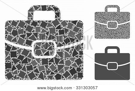 Briefcase Composition Of Tuberous Items In Different Sizes And Color Hues, Based On Briefcase Icon.