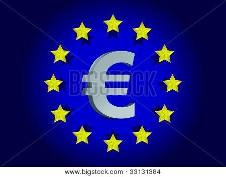 European union flag and euro symbol illustration design
