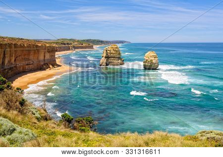 Two Of The Famous Limestone Rock Stacks Off The Shore Of Port Campbell National Park - Port Campbell