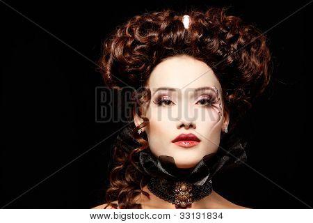 woman beautiful halloween vampire baroque aristocrat