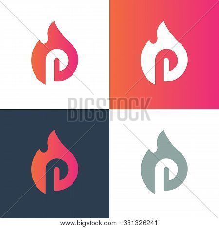 Initial Letter P With Fire, Burning Alphabet P Logo - Vector
