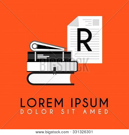 Stack Of Books With Additional Initial R Logo In H Simple And Neat Design