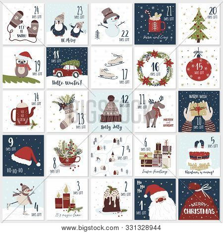 Christmas Cartoon Advent  Calendar In Hand Draw Style. Count Down Till Christmas Kit. Twenty Five Ch