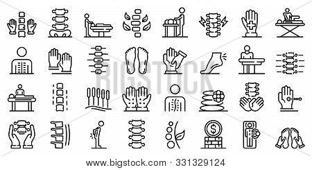 Osteopathy Icons Set. Outline Set Of Osteopathy Vector Icons For Web Design Isolated On White Backgr