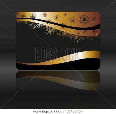 golden card with snowflakes