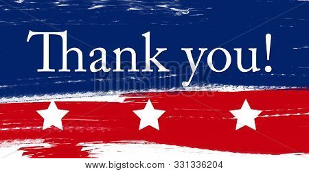 Us Veterans And Memorial Day Holidays.  Brushed American Flag Lettering Design. Wide Vector Illustra