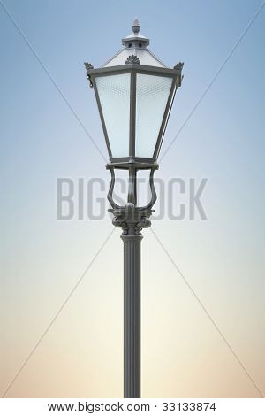 Street Lamp On The Blue Background