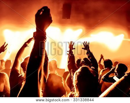 cheering concert people at rock conert