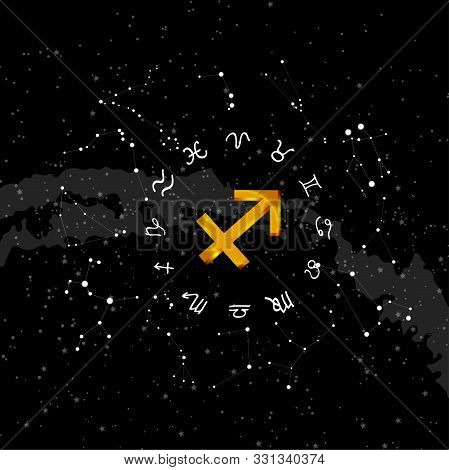 constellation Sagittarius of the zodiac. Zodiac signs set of illustrations on the background of a starry sky. constellation was his symbol and the name poster