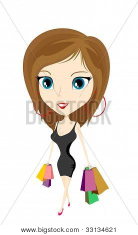cartoon girl with bags