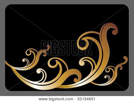 black gift card with golden pattern