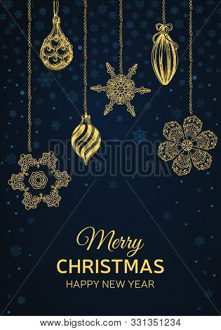 New Year Holidays Greeting Card. Christmas Holiday Invitation. Ornament With Snowflakes. Vector Illu