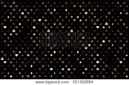 Casino Background. Dark Black Vector Background With Cards Signs. Symbols Of Playing Cards. Design F