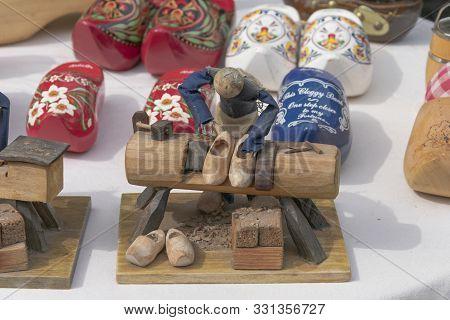 Sint Gillis Waas, Belgium, August 11 2019, Wooden Male Represents A Clog