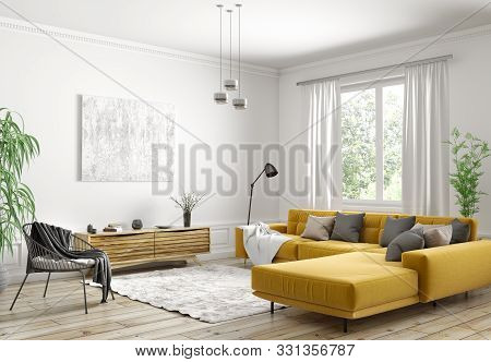 Modern Interior Design Of Scandinavian Apartment, Living Room With Yellow Sofa, Sideboard And Black