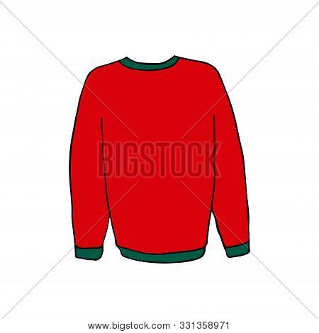 Sweater Or Pullover For Winter Or Christmas. Colorful Outline On White Background. Picture Can Be Us