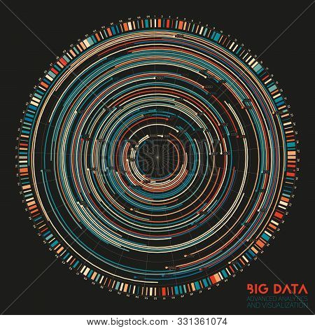Vector Abstract Colorful Round Big Data Information Visualization. Social Network, Financial Analysi