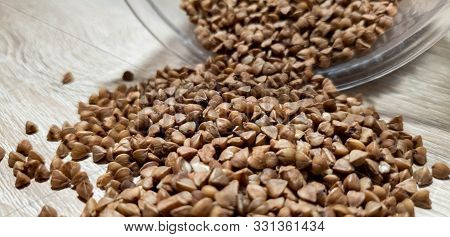 Buckwheat. Buckwheat Kernels. Buckwheat Close-up. Dietary Grits.