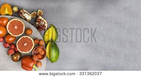 Banner Of Fruits And Vegetables Containing Lycopene. Healthy Vegan Food Background. Lycopene Is A Re