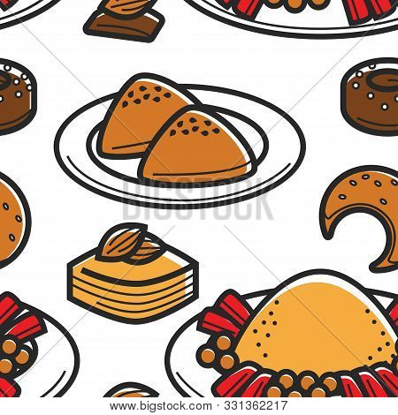 Tunisia Traditional Food Bakery Products And Couscous Seamless Pattern