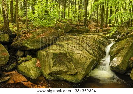 Velky Falls In Super Green Forest Surroundings, Czech Republic