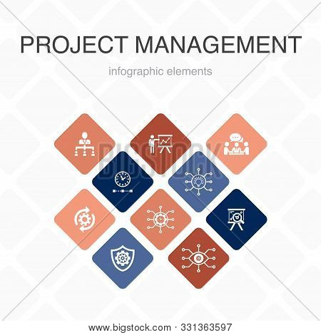Project Management Infographic 10 Option Color Design. Project Presentation, Meeting, Workflow, Risk