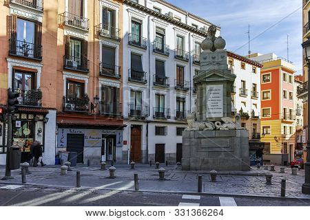 Madrid, Spain - January 23, 2018: Amazing View Of Fernando Vii Monument In City Of Madrid, Spain