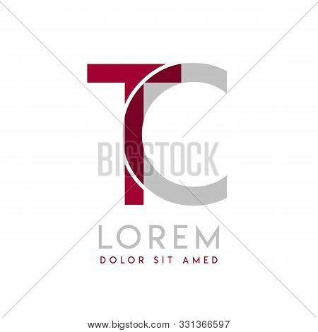 Tc Simple Logo Design With Gray And Maroon Color That Can Be Used For Creative Business And Advertis