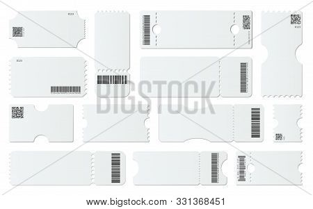 Blank Ticket Mockup. White Tickets With Barcodes, Empty Coupon And Admit One Ticket Template Vector