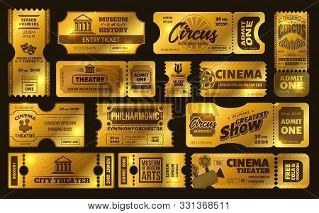Golden Tickets. Gold Circus Show Ticket, Premium Cinema Movie Night Coupon And Theatre Tickets Vecto