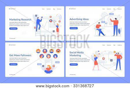 Website Branding. Digital Marketing, Navigating Technology And Social Media Vector Landing Page Temp