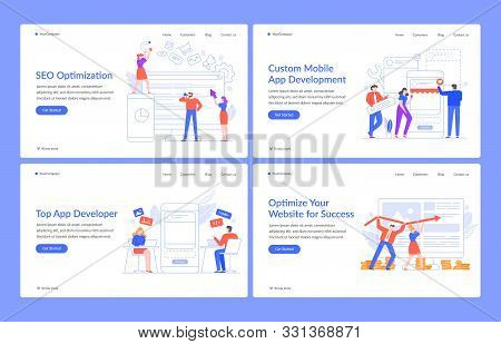 Innovative Web Concepts. Website Solutions, Seo And Mobile Apps With Modern People Vector Illustrati